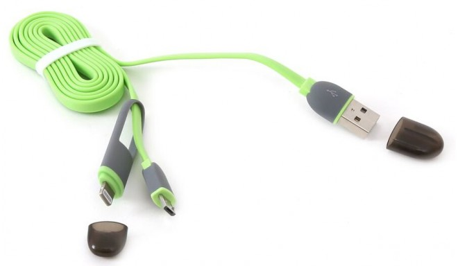 Platinet kaabel USB - microUSB/Lightning 1m, roheline (42872)