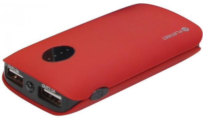 Platinet lādētājs-akumulators 5000mAh 2xUSB, sarkans (42411)