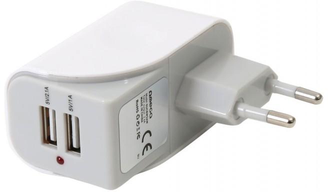 Omega USB kiirlaadija 2xUSB 2600mA, valge (43126)