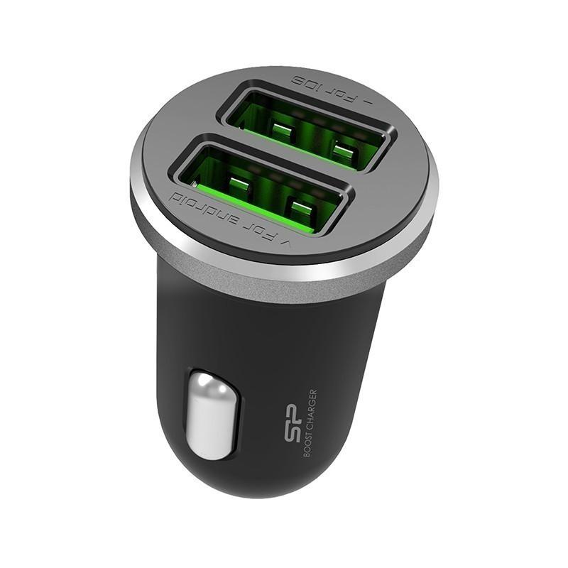 Silicon Power зарядка для авто 2×USB, черный (CC102P)