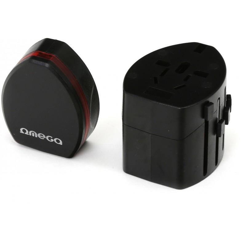 Omega reisiadapter 4in1 USB, must (42010)
