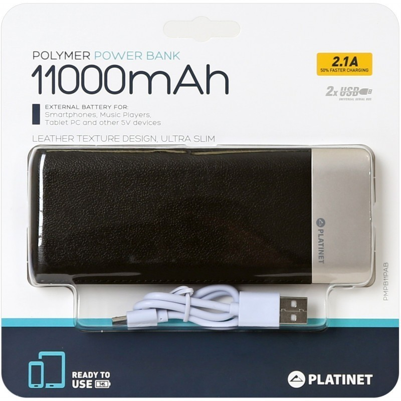Platinet akupank Leather 11000mAh 2.1A 2xUSB Li-Po, must (43793)
