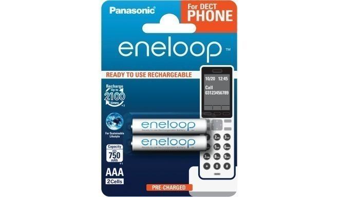 Panasonic eneloop аккумуляторные батарейки AAA 750 2BP Dect