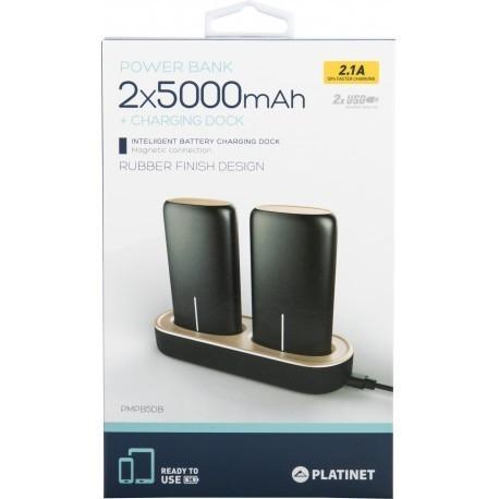 Platinet портативный аккумулятор 2x5000mAh 2.1A USB + док для зарядки, черный (44352)