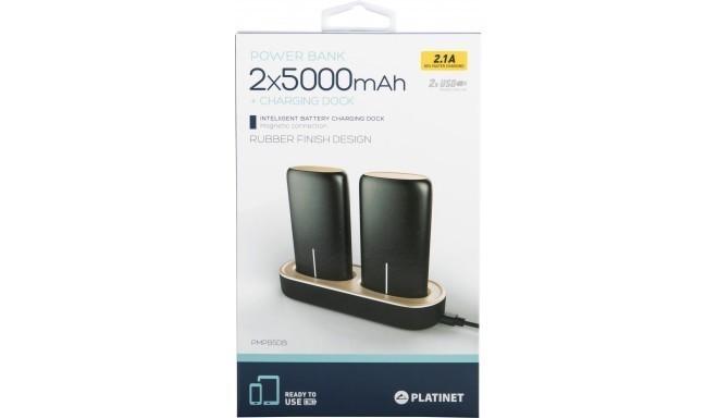 Platinet power bank 2x5000mAh 2.1A USB + charging dock, black (44352)
