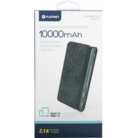 Platinet lādētājs-akumulators 10000mAh Fabric Braided LiPo 2,1A, tumši pelēks (44385)