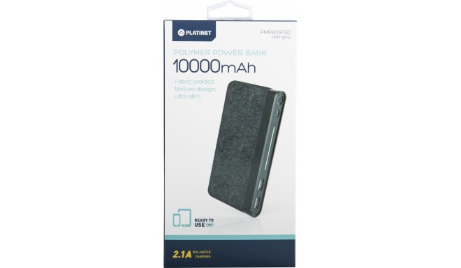 Platinet power bank 10000mAh Fabric Braided LiPo 2.1A, dark grey (44385)