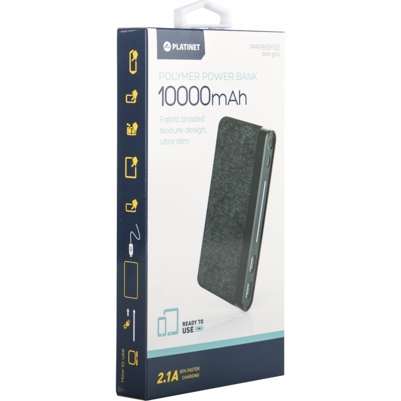 Platinet power bank 10000mAh Fabric Braided LiPo 2.1A, dark grey (44385)