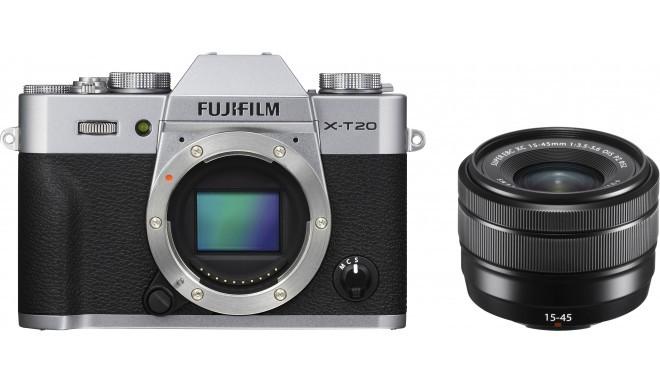 Fujifilm X-T20 + 15-45mm Kit, sudrabots