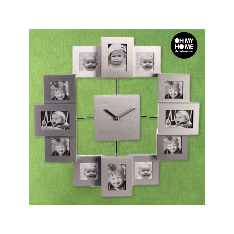 All Aluminium Wall Clock With 12 Photo Frames Wall Clocks Photopoint