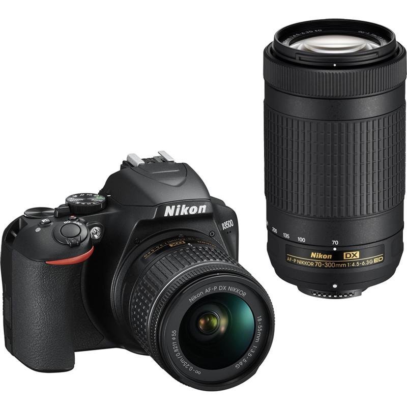 Nikon D3500 + 18-55 мм AF-P + 70-300 мм Kit, черный