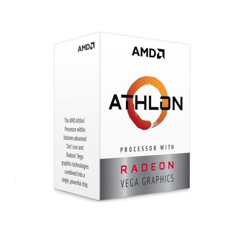 CPU | AMD | Athlon | 200GE | 3200 MHz | Cores 2 | Socket SAM4 | 35 Watts | GPU Radeon Vega 3 | BOX |