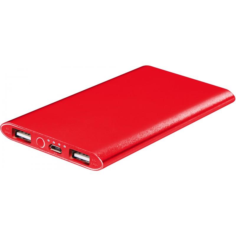 Platinet power bank 5000mAh Li-Po 2xUSB, red (43175)