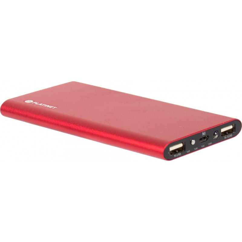 Platinet power bank 8000mAh Li-Po 2xUSB, red (43567)