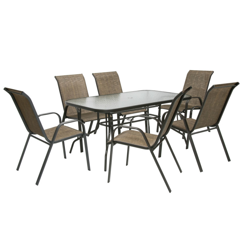 Garden Furniture Set Dublin Table And 6 Chairs Steel Frame Color