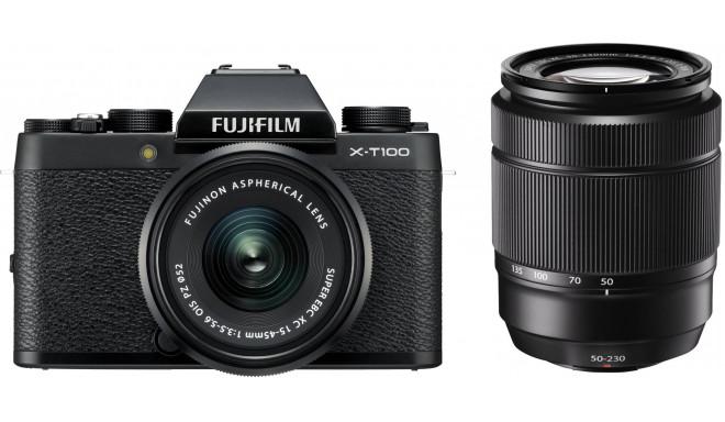 Fujifilm X-T100 + 15-45mm + 50-230mm Kit, melns