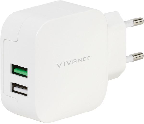 Vivanco laadija USB 2,4A/1A, valge (37563)