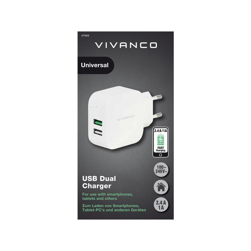 Vivanco charger USB 2,4A/1A, white (37563)