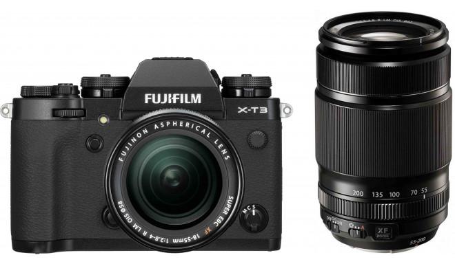 Fujifilm X-T3  + 18-55мм + 55-200мм Kit, черный