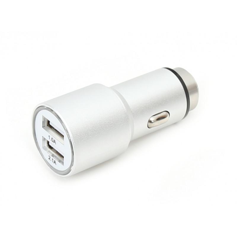 Omega car charger 2xUSB 2100mA Metal, silver (43344)