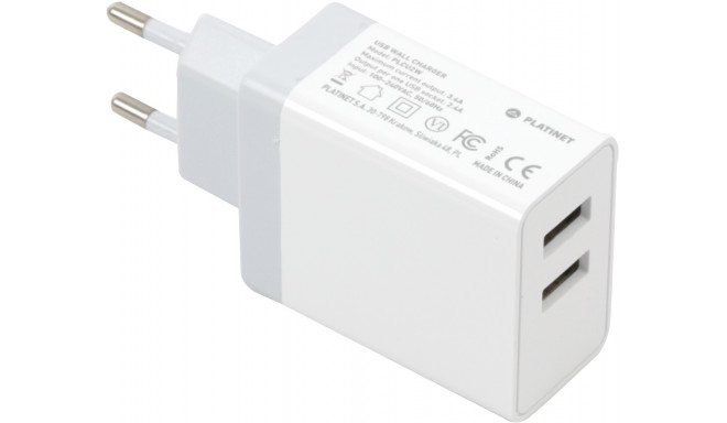 Platinet USB laadija + kaabel 2xUSB 3,4mA, valge (43723)