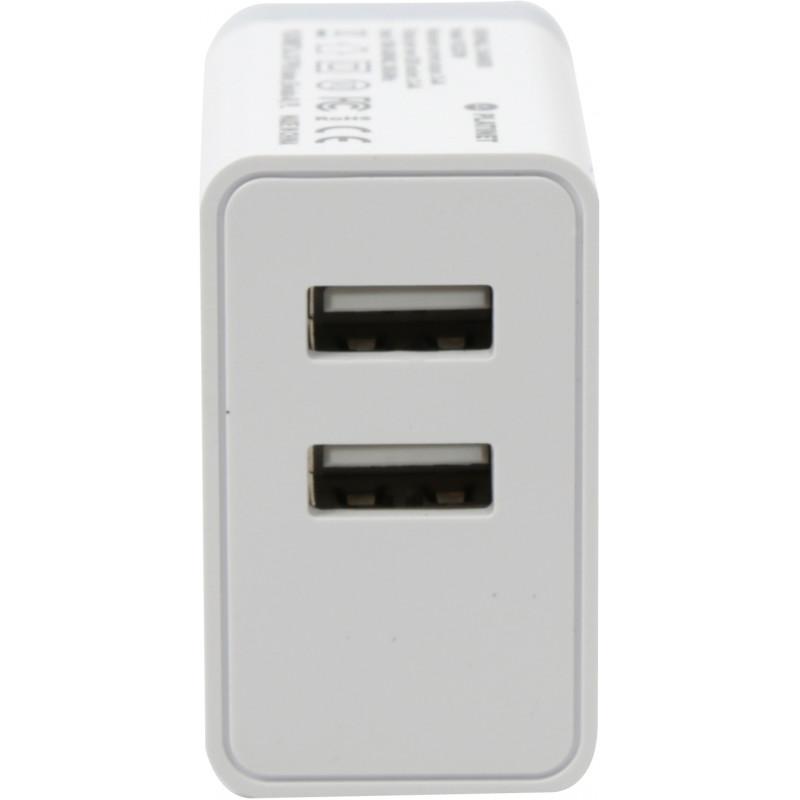 Platinet USB laadija + kaabel 2xUSB 3400mA, valge (43723)