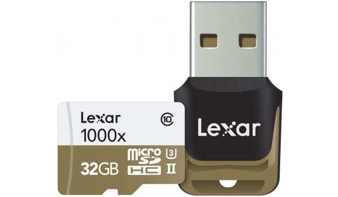 Lexar memory card microSDHC 32GB Pro 1000x V60 + memory card reader