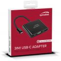 Speedlink adapter USB-C - VGA/USB 3.0/USB-C 3in1 HQ (SL-180027-BK)