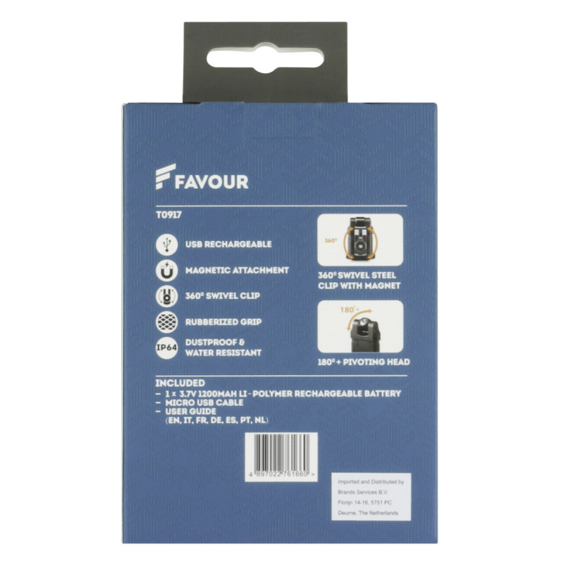 Favour EDCLIP LED Work Light 1200mAh, 360 Sivel Clip  T0917