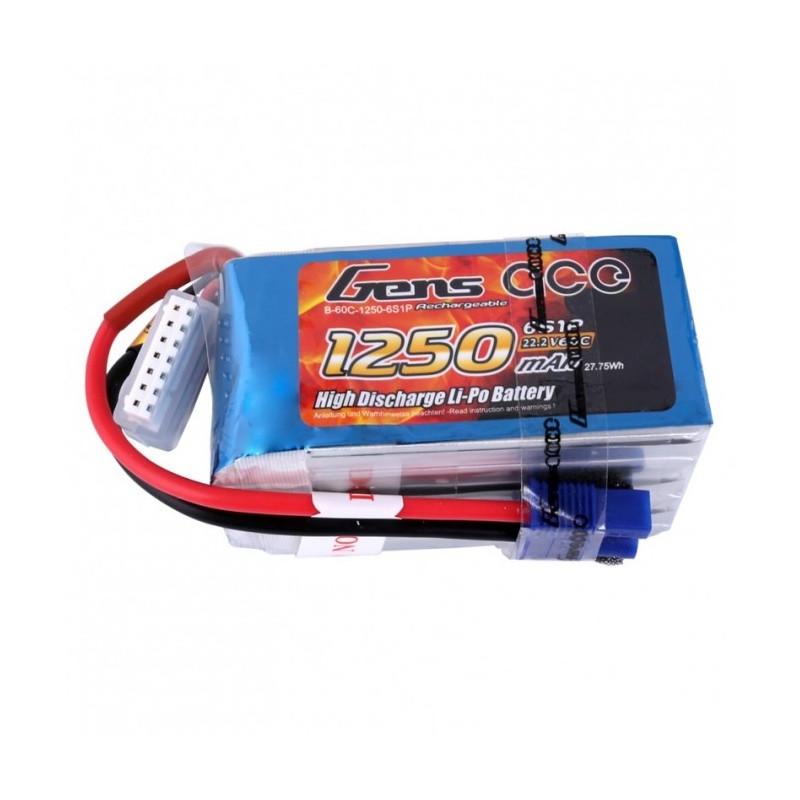 1250mAh 22.2V 60C Gens Ace - EC3