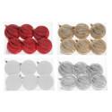 Jõuluehted-lapik 8cm 6tk karbis ühte värvi , 4 värvi valik: valge, punane, kuldne, hõbe/ 1 pakk