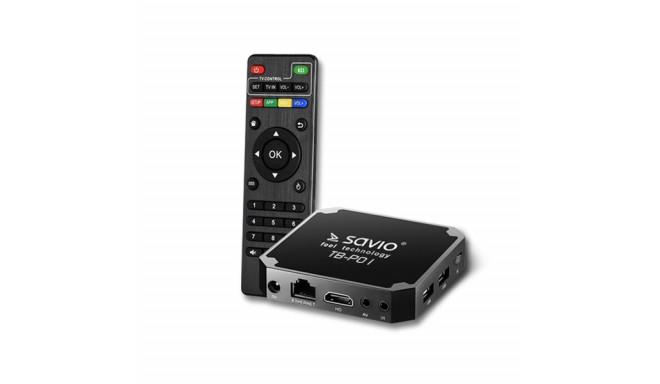 Savio TB-P01 Multimēdijas TV Ierīce Android 7.1 / 4K / Wi-Fi / 2GB / 16GB / 4 x 1.2 Ghz / H.264 / HD