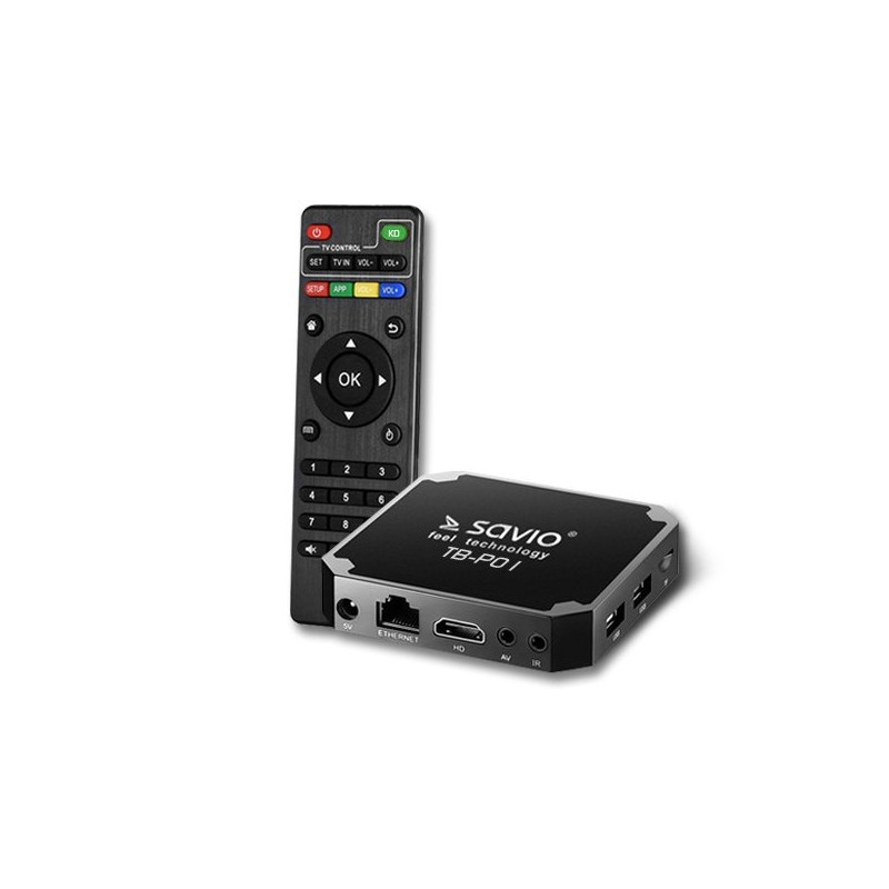 Savio TB-P01 Smart TV Box Streaming Device Android 7.1 / 4K / Wi-Fi / 2GB / 16GB / 4 x 1.2 Ghz / H.2