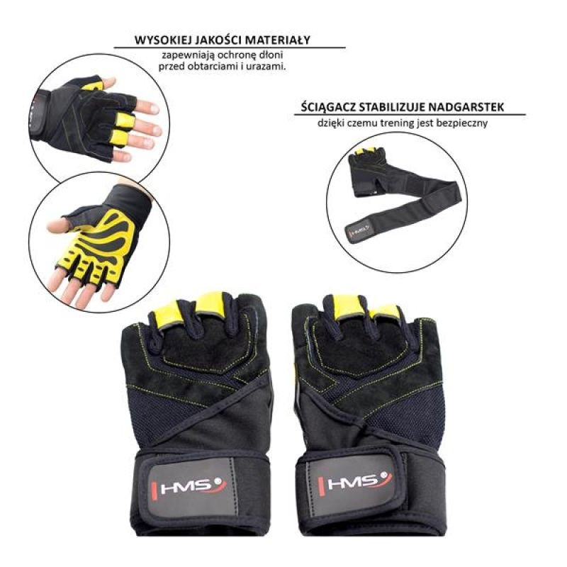 Adults training gloves black/yellow HMS L