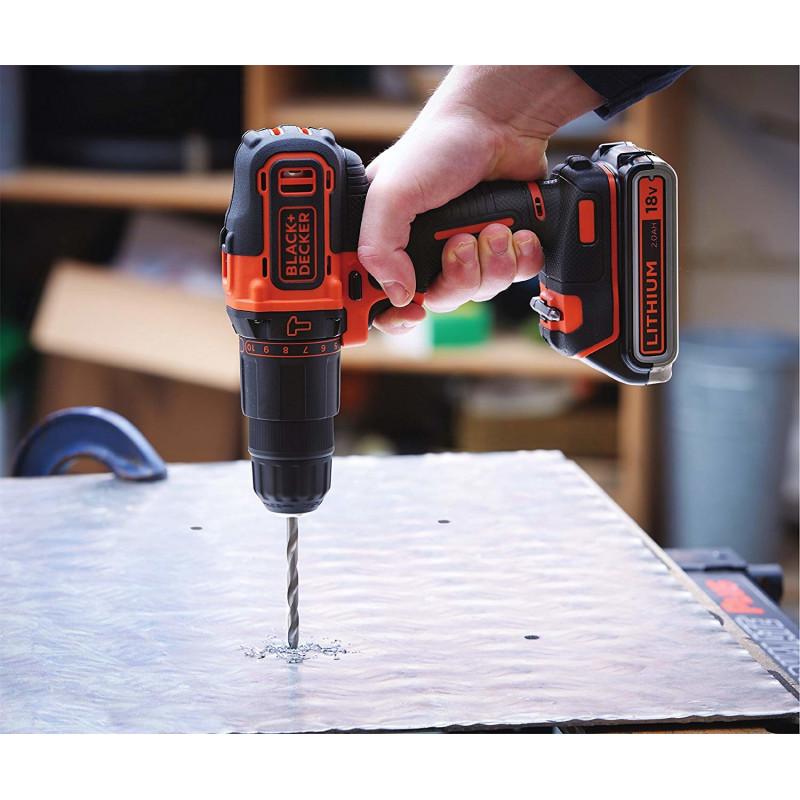 Black&Decker BDCHD18KB2 - black / orange - case, 2x Li-Ion battery 2.0Ah