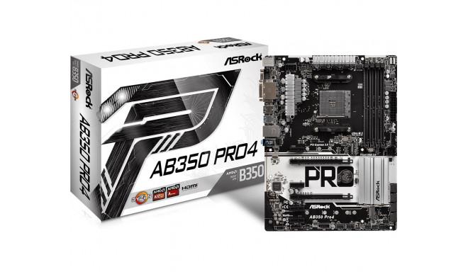 ASRock emaplaat AB350 PRO4 AM4 4DDR4 VGA/DVI/HDMI/USB3.1 M.2 ATX