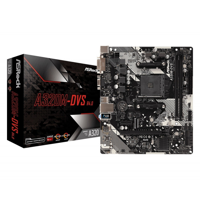 ASRock emaplaat A320M-DVS R4.0 AM4 2DDR4 micro ATX