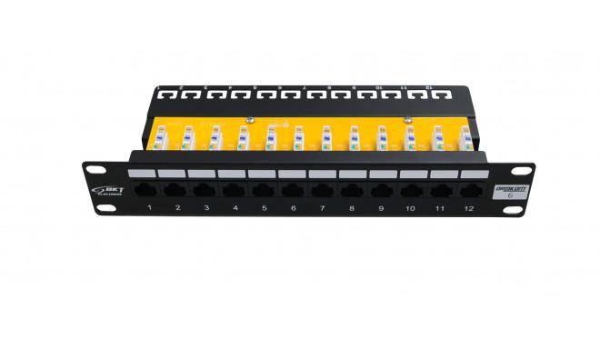 10´´ Patch Panel, 12xRJ45, unshielded, Cat6, 1U, black