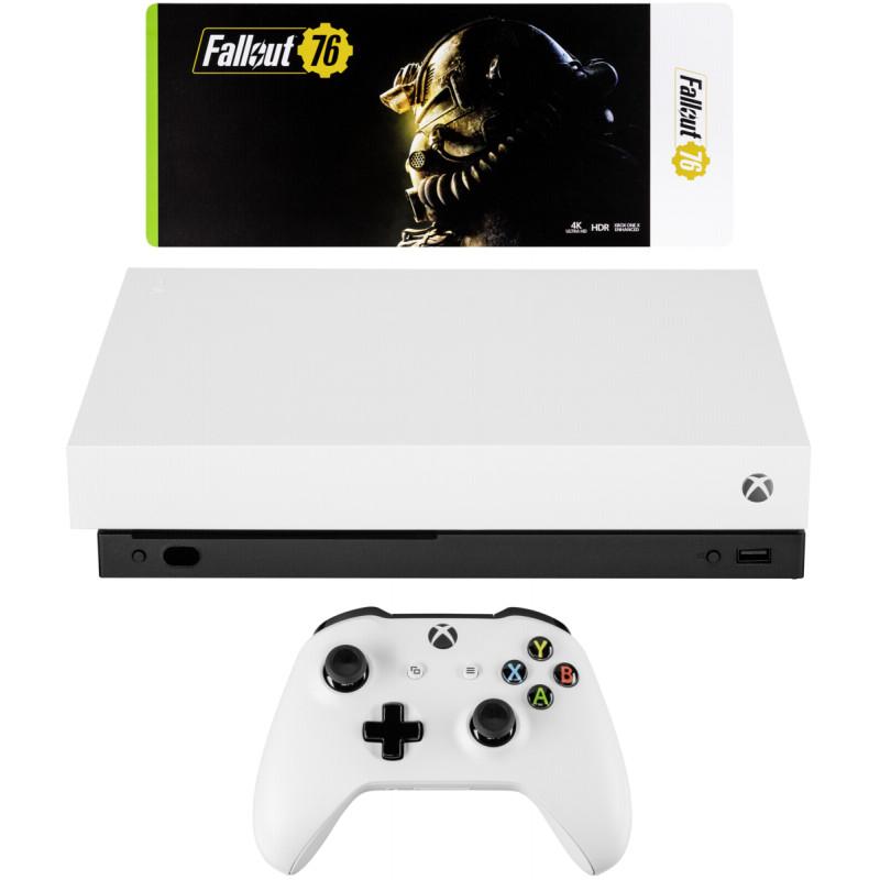 Microsoft Xbox One X, valge + Fallout 76 USK 18