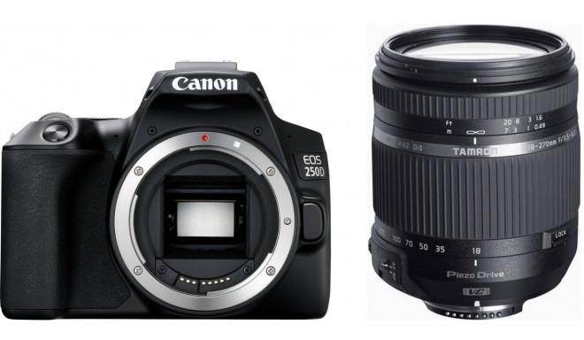 Canon EOS 250D + Tamron 18-270mm PZD TS, melns