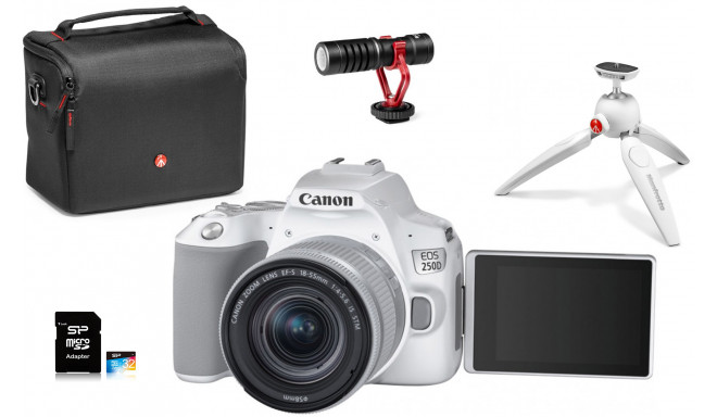 Canon EOS 250D Youtuber Kit, balts