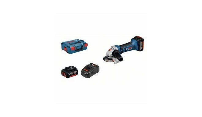 Bosch Cordless Angle Grinder GWS 18-125 V-LI Professional(blue / black, L-BOXX, 2x Li-Ion battery,