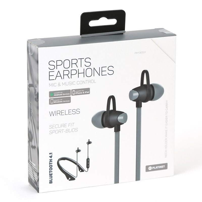 Platinet PM1065GY Premium Bluetooth 4 1 Sport Headsets Grey