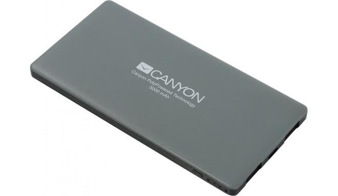 Canyon power bank 5000mAh, dark grey (CNS-TPBP5DG)