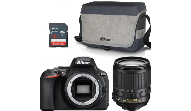 Nikon D5600 + 18-105mm AF-S VR + pleca soma + atmiņas karte