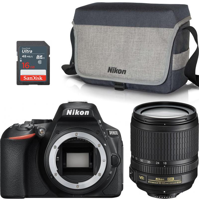 Nikon D5600 + 18-105mm AF-S VR + shoulder bag + memory card