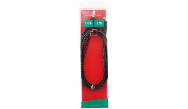 Omega kabelis Lightning Metal 1m, melns (44212)