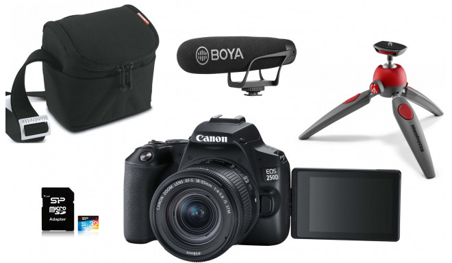 Canon EOS 250D Youtuber Kit, melns