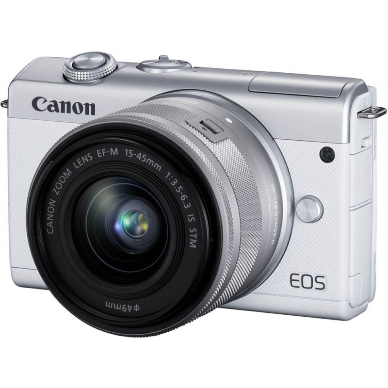 Canon EOS M200 + EF-M 15-45mm IS STM, valge