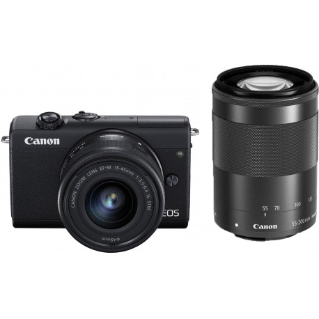 Canon EOS M200 + EF-M 15-45mm + 55-200mm IS STM, melns